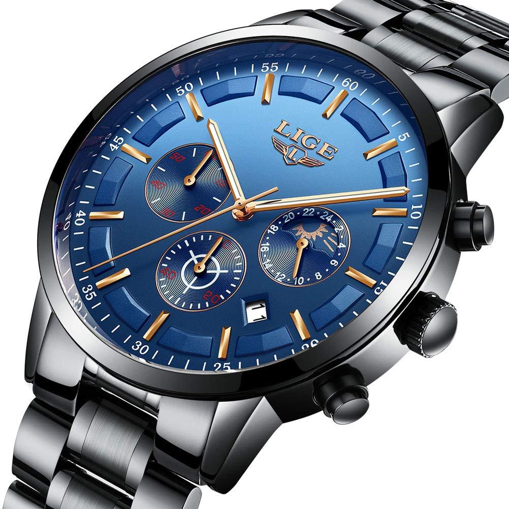 Watches Men Waterproof Analog Quartz Wrist Watch Men Luxury Brand LIGE Chronograph Sport Watch Man Black Stainless Steel Blue Business Clock