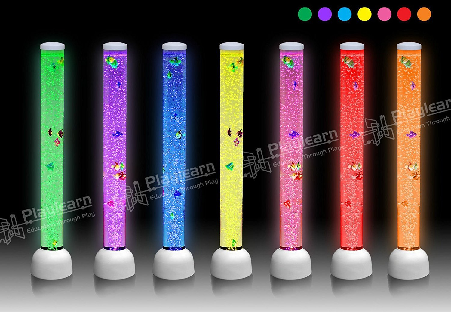 Sensory LED Bubble Tube - 3 Foot ''Tank'' With Fake Fish - Floor Lamp with 7 Changing Light Colors - White Stimulating Home and Office Décor - by Playlearn