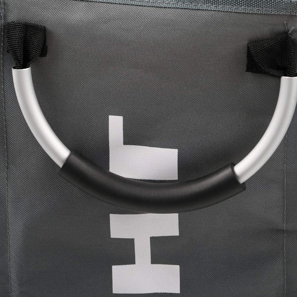 HAOT Panier à Linge Mince avec poignée en Cuir (3 Couleurs), bacs de Rangement Pliables en Coin, Panier à Linge Pliable, 60 * 32 * 49Cm, Gris, A Gray