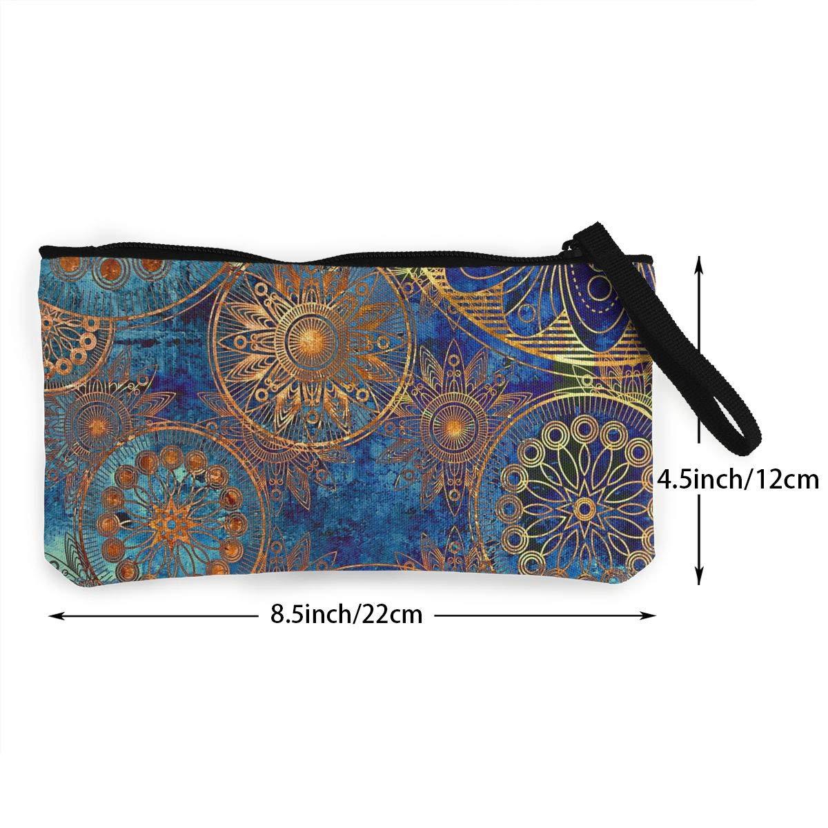 Canvas Cash Coin Purse,Bohemia Print Make Up Bag Zipper Small Purse Wallets