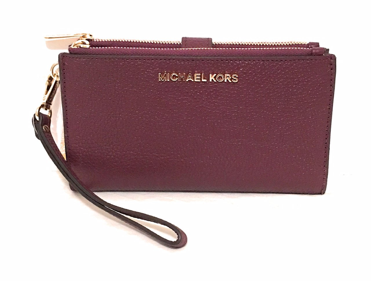 Michael Kors Jet Set Travel double Zip Wristlet (Plum)