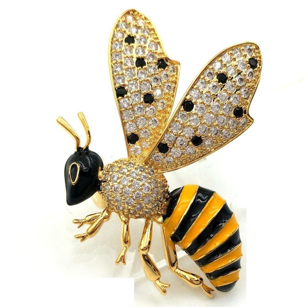 Dreamlandsales Vintage Micro Pave Yellow Black Enamel Profile Bee Brooch Gold Tone