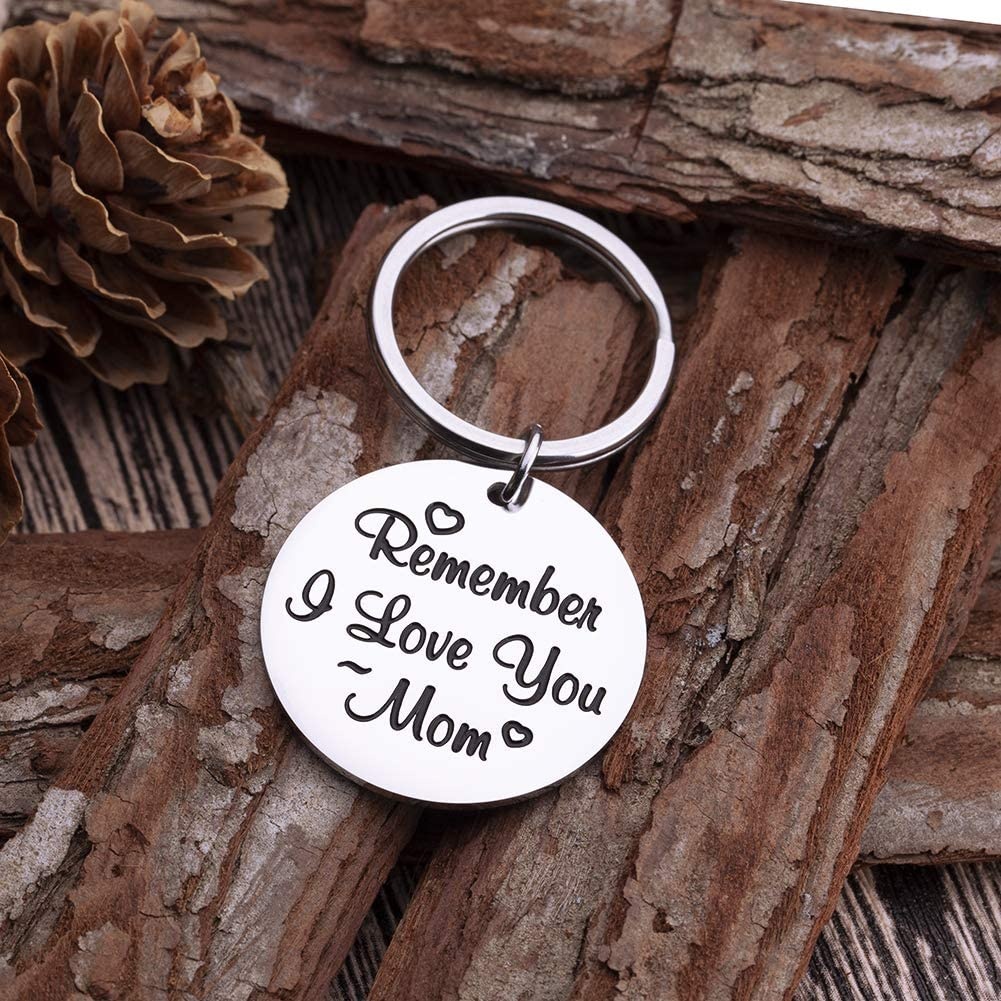 Mothers Day Keychain Gifts for Mom from Daughter Son Remember I Love You Mom Birthday Gifts for Women Mommy Key Ring Wedding Stocking Stuffers for Her