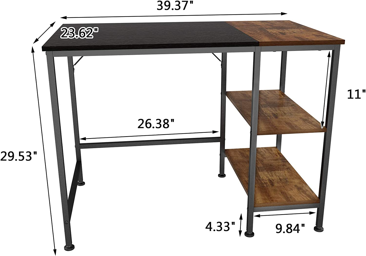 JOISCOPE Computer Desk with Shelves,Laptop Table with Wooden Drawer,40 inches(Black Oak Finish): Kitchen & Dining