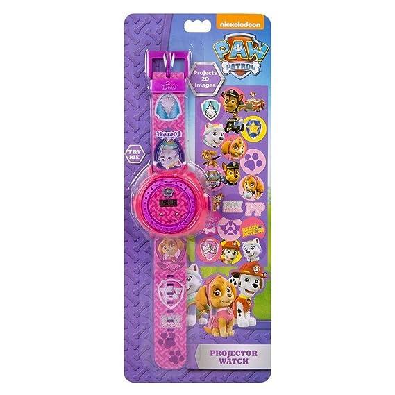 Reloj infantil con diseño de «La patrulla canina» y proyector, color rosa y morado: Amazon.es: Relojes