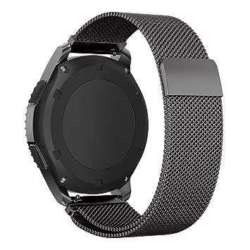 Pulsera de repuesto para Samsung Gear S3 Frontier y Classic, malla de acero inoxidable, magnética