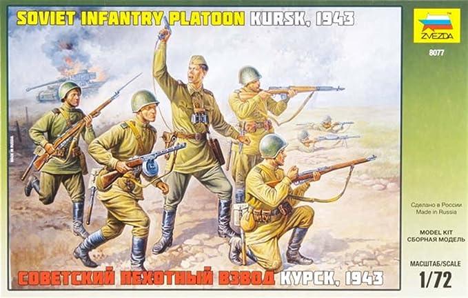 Zvezda 1//72nd Scale WWII Russian Infantry Platoon Kursk 1943 Set 8077 NEW!