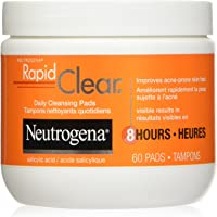 Neutrogena Acne Rapid Clear Cleansing Pads, Salicylic Acid Acne Treatment, 60 Count