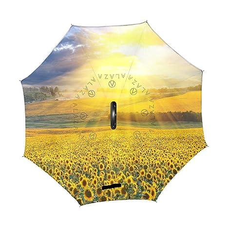 7356595f3f072 Amazon.com : Wamika Sunshine Blue Sky Sunflowers Reverse Umbrella ...