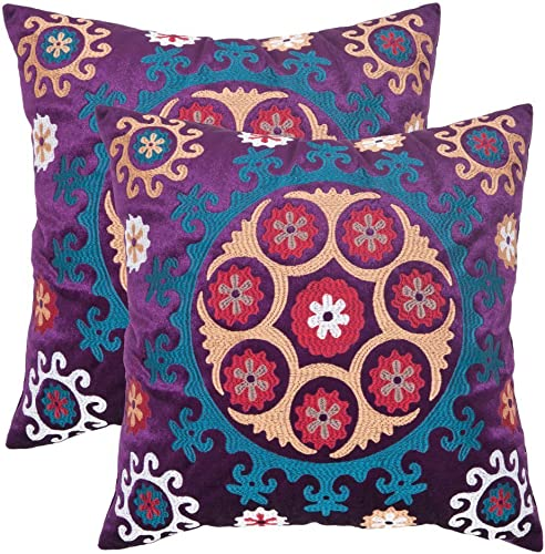 Safavieh Pillows Collection Vanessa Decorative Pillow, 20-Inch, Gold and Purple, Set of 2