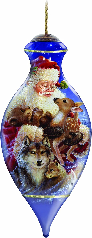 New NEQWA Glass Ornament SANTA/'S WOODLAND FRIENDS Artist Dona Gelsinger 7131137