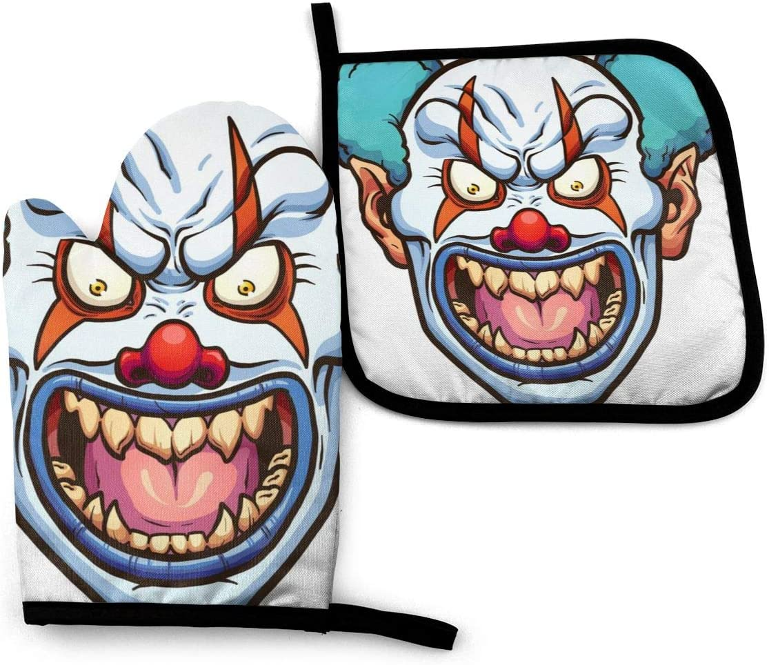 LJGBliss Evil Clown Oven Mitts and Pot Holders Sets Heat Resistant Kitchen Oven Gloves 2pcs for BBQ Cooking Baking Grilling