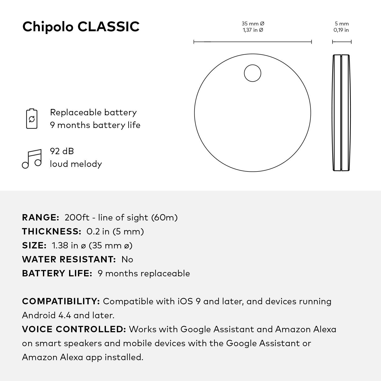 con Pila reemplazable Bluetooth localizador de Llaves y tel/éfono Chipolo Classic Fruit Edition 4-Pack