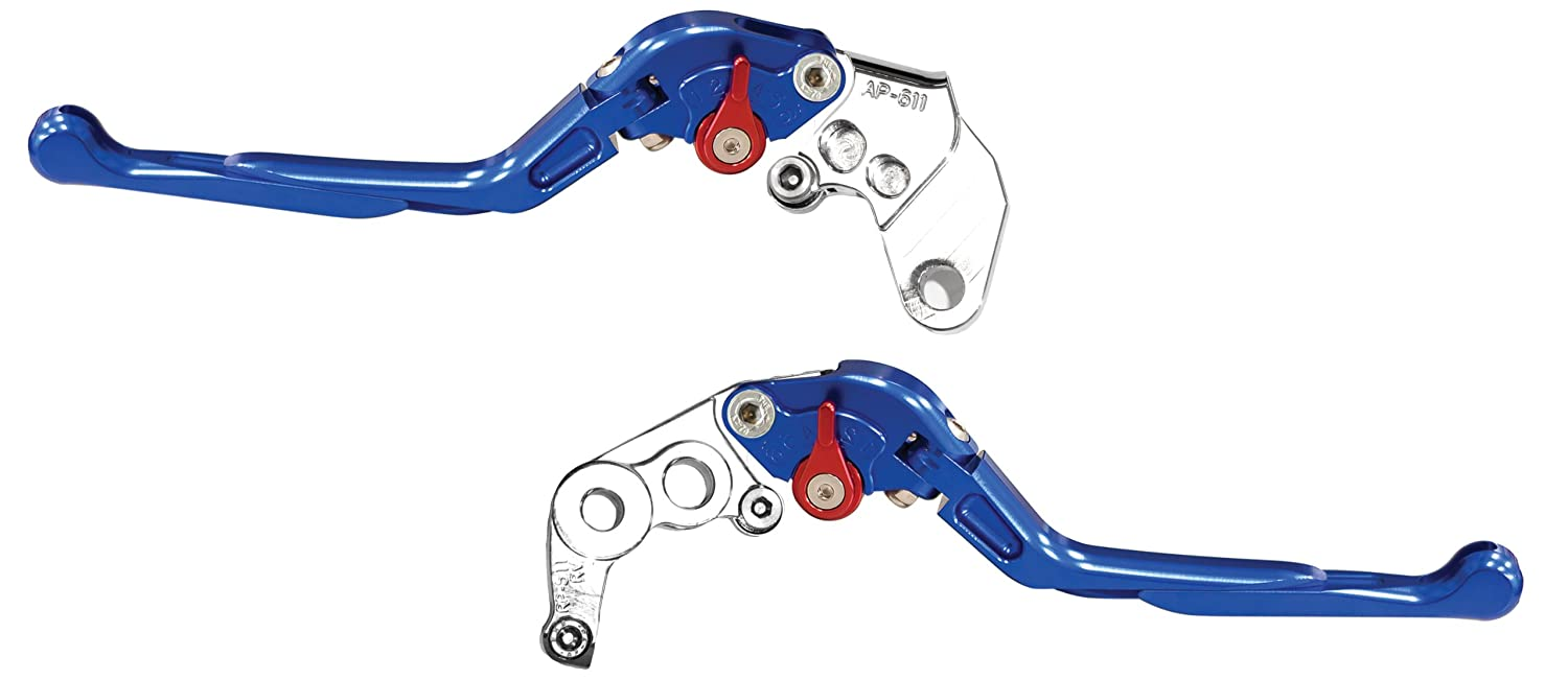 Yana Shiki LS18LCFS-RED//RS18LBFS-RED Red Sliding Folding Adjustable Brake//Clutch Lever Set with Silver Knuckles for Suzuki GSX-R600//750