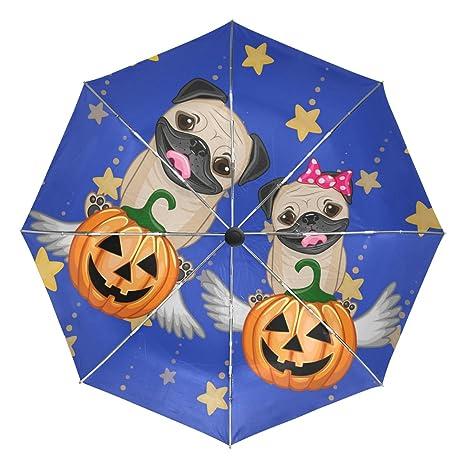 COOSUN Perros de Halloween con calabazas automático 3 plegable del paraguas del parasol Color # 002