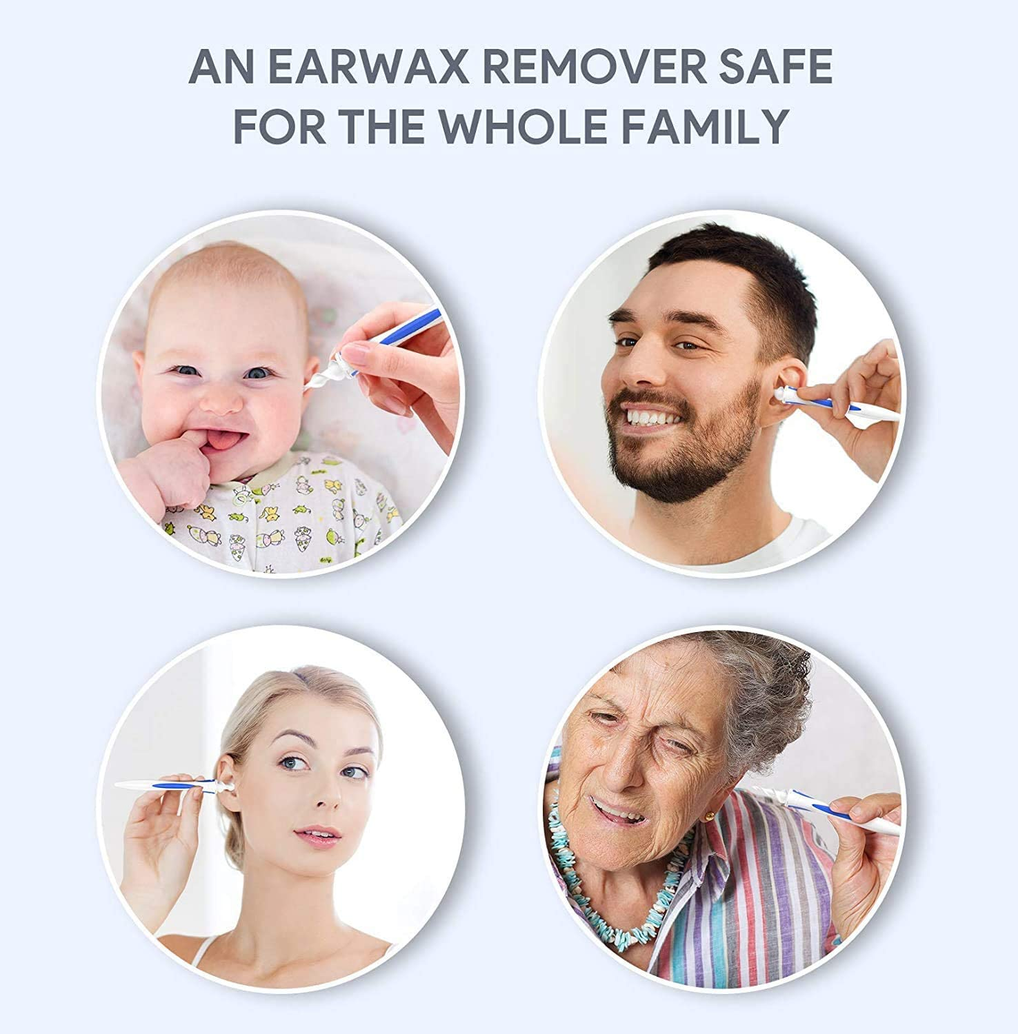 Twist Spiral Smart Earwax Remover Reusable Ear Picker Clean Kit Ear Wax Catcher 16 Tips for Adults Kids Humans Ear-Wax-Removal-Tool Silicone Ear Cleaner Safe Soft Ear Wax Remover