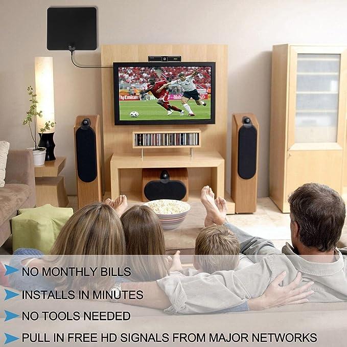 Antena de TV, habitaciones Antena/Antena Televisor TV Antena Indoor HDTV antenne50 Miles Digital Freeview HDTV Indoor Antena con amplificador de señal Booster extraíble, superdünn y alta Recepción, Super larga Cable, portátil, Negro,