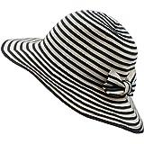LLmoway Women Beach Sun Hat Lightweight Cotton Stripe Hat with Inner String