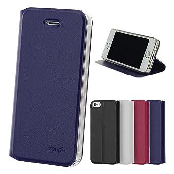 doupi Deluxe FlipCover para iPhone 4 4S, Carcasa Case magnético Funda Caso tirón Estilo Libro Protector de Cuero Artificial, Azul: Amazon.es: Electrónica