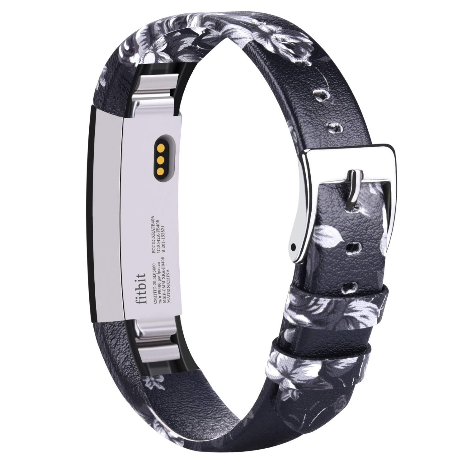 Vancle Leather Bands Compatible with Fitbit Alta/Fitbit Alta HR for Women Men, Adjustable Replacement Accessories Strap with Buckle for Fitbit Alta and Fitbit Alta HR (.Floral Gray)