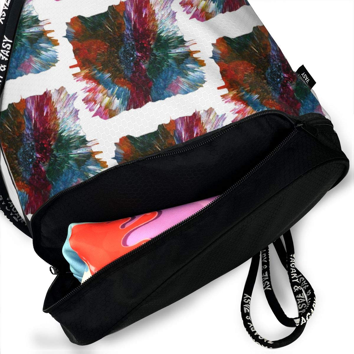 Color Burst Middle Age Drawstring Backpack Sports Athletic Gym Cinch Sack String Storage Bags for Hiking Travel Beach