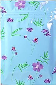 QQ Studio Pack of 100 Glossy Color Design Mylar Foil Ziplock Food-Safe Flat Repackaging Bags (0.3oz (2.8