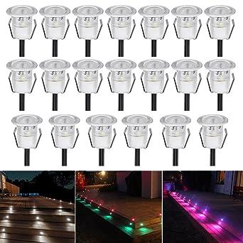 Bon 20er Set Bodeneinbaustrahler LED Ø30mm Aussen Treppen Einbaustrahler 0.3W  IP67 Wasserdicht Boden Lampe RGB Farbwechsel