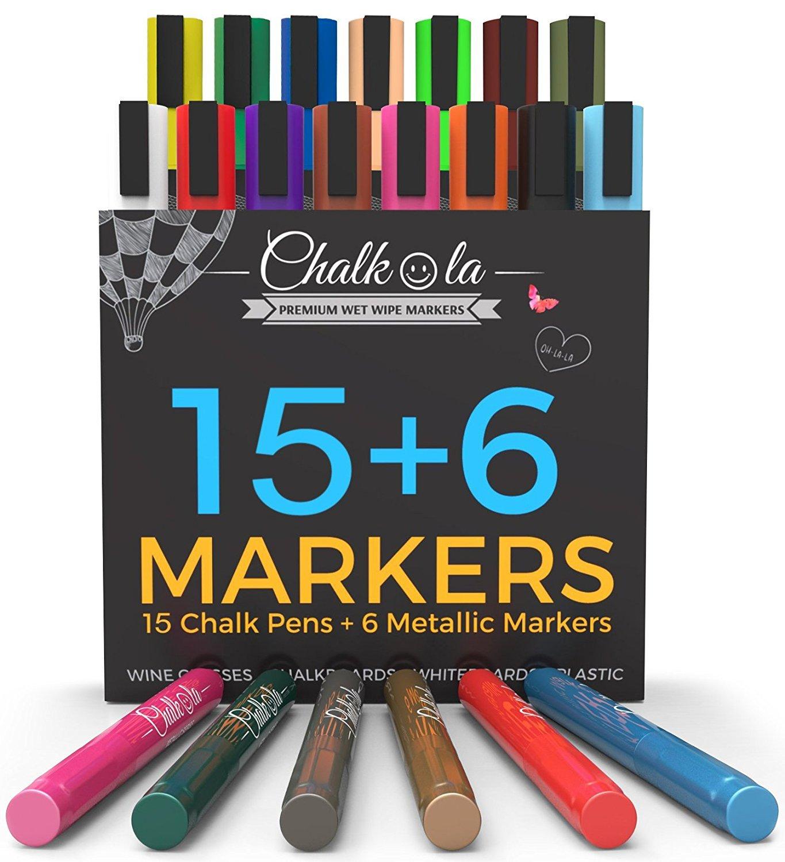 Chalk Markers & Metallic Colors - Pack of 21 neon chalk pens - For Chalkboard, Whiteboard, Blackboard, Window, Labels, Bistro, Glass - Wet Wipe Erasable - 6mm Reversible bullet & chisel Tip by Chalkola