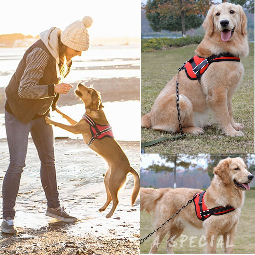 Dog Harness No Pull Harness Pet Padded Vest Adjustable Reflective Comfort Control for Large Dogs in Training Walking - No More Pulling Tugging or Choking (XXL, Red)