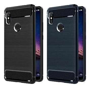 iVoler [2 Unidades] Funda para Xiaomi Redmi Note 6 Pro, Diseño de Fibra de Carbon Ultra Fina TPU Silicona Carcasa Fundas Protectora con Shock- ...