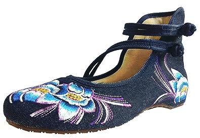 SMITHROAD Damen Ballerina Schuhe mit Stickerei Blumen Muster 3CM Blockabsatz Klettverschluss Halbschuhe Sandalen,Grau Gr.34