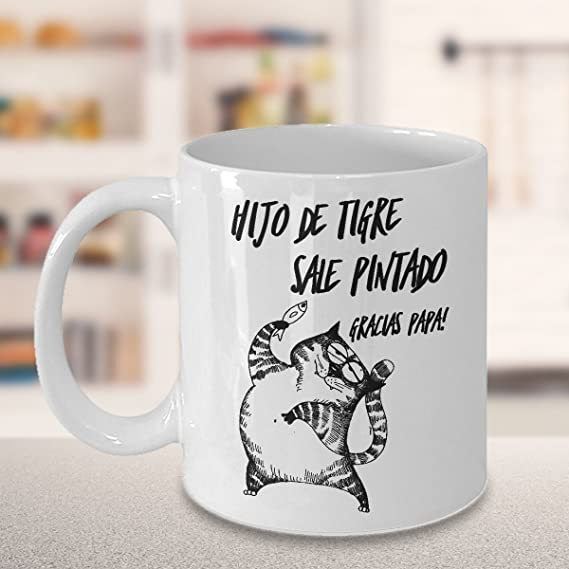 Amazon.com: Taza de Cafe Gatos Chistosas ; Regalo para el dia del Padre ; mi Hijo mi Espejo ; Mugs in Spanish: Kitchen & Dining