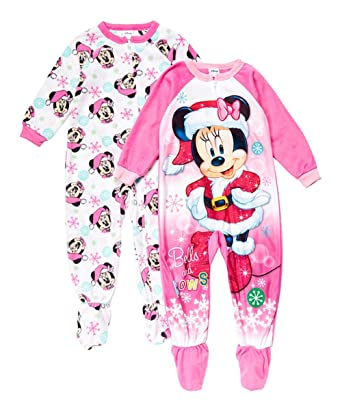 e01c74d6ba Amazon.com  AME Minnie Mouse Christmas Bells and Bows Fleece Pajama ...