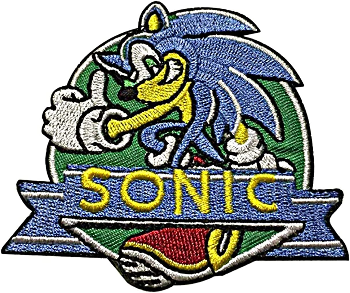 Amazon Com Sonic The Hedgehog 3 1 2 Inch Diameter Embroidered Iron On Patch Clothing