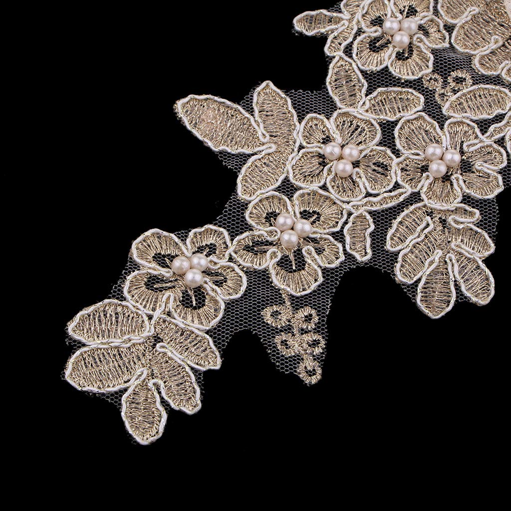 2 Pack Flower Embroidered Appliques Lace Fabric Ribbon Trim Patch Embroidery Neckline Collar Gold