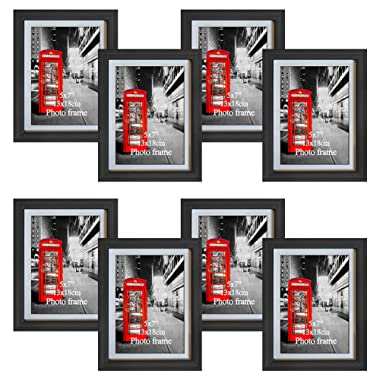 Amazing Roo 8 Pack Black Picture Frames 5x7 with Glass Front Display 6 x 8 Photos Without Matted for Wall or Tabletop Decor
