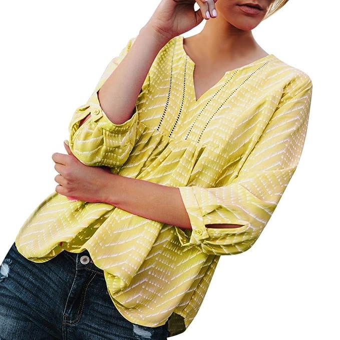 Camisas Mujer, 2018 Nuevo Moda Mujer Hueco Fuera Camisa con Cuello En V Blusa Estampada