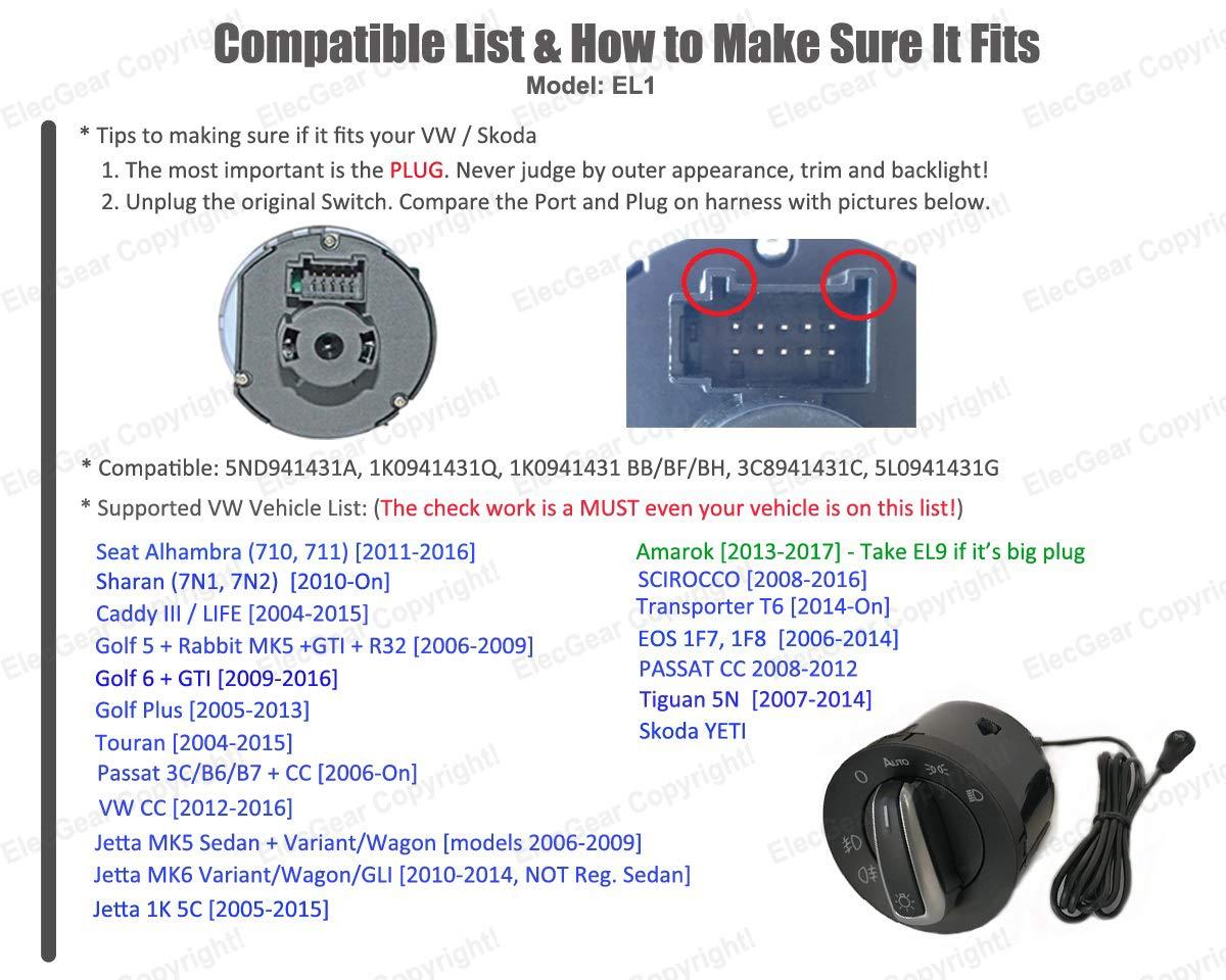 EL1 Headlight Fog Light Auto Sensor Chrome Switch, Bluetooth App Control  Coming Leaving Home Module Relais – Golf 5/6, Passat B6, B7, CC, Scirocco,