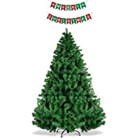 HK Balloons Artificial Christmas Tree, Unlit Hinged Spruce Xmas Tree with Solid Metal Stand, for Outdoor and Indoor Decor