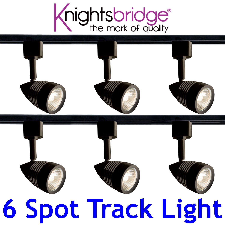 sale retailer b439a 48bdd Knightsbridge Black Track Lighting Set Kit 6X Spotlight GU10 ...