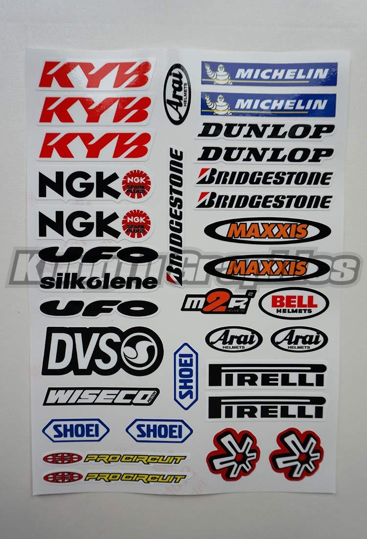Red Blue Kungfu Graphics HRC Micro Sponsor Logo Racing Sticker Sheet Universal 7.2x 10.2 inch