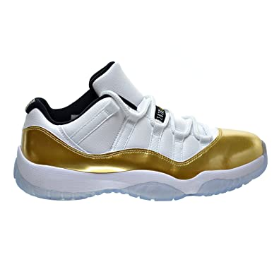 9c51dd5890833 Jordan Air 11 Retro Low Men's Shoes White/Metallic Gold Coin/Black  528895-103 (8.5 D(M) US)