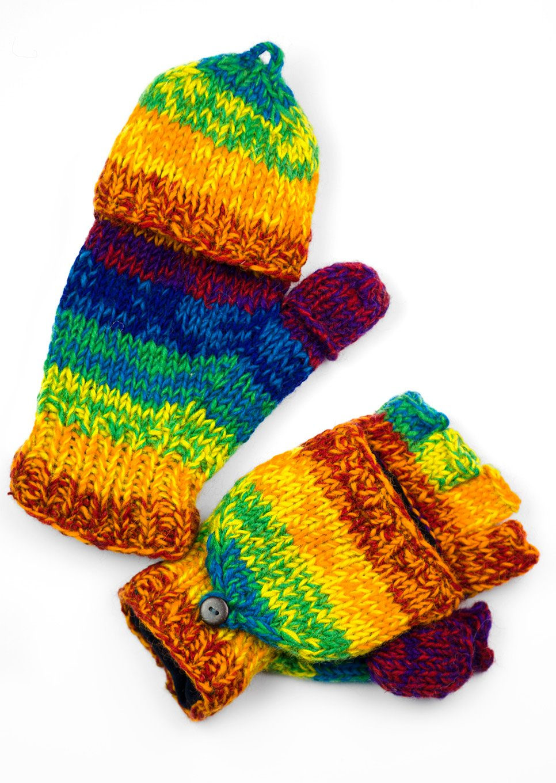 TCG Women's Hand Knit Wool Glittens - Rainbow