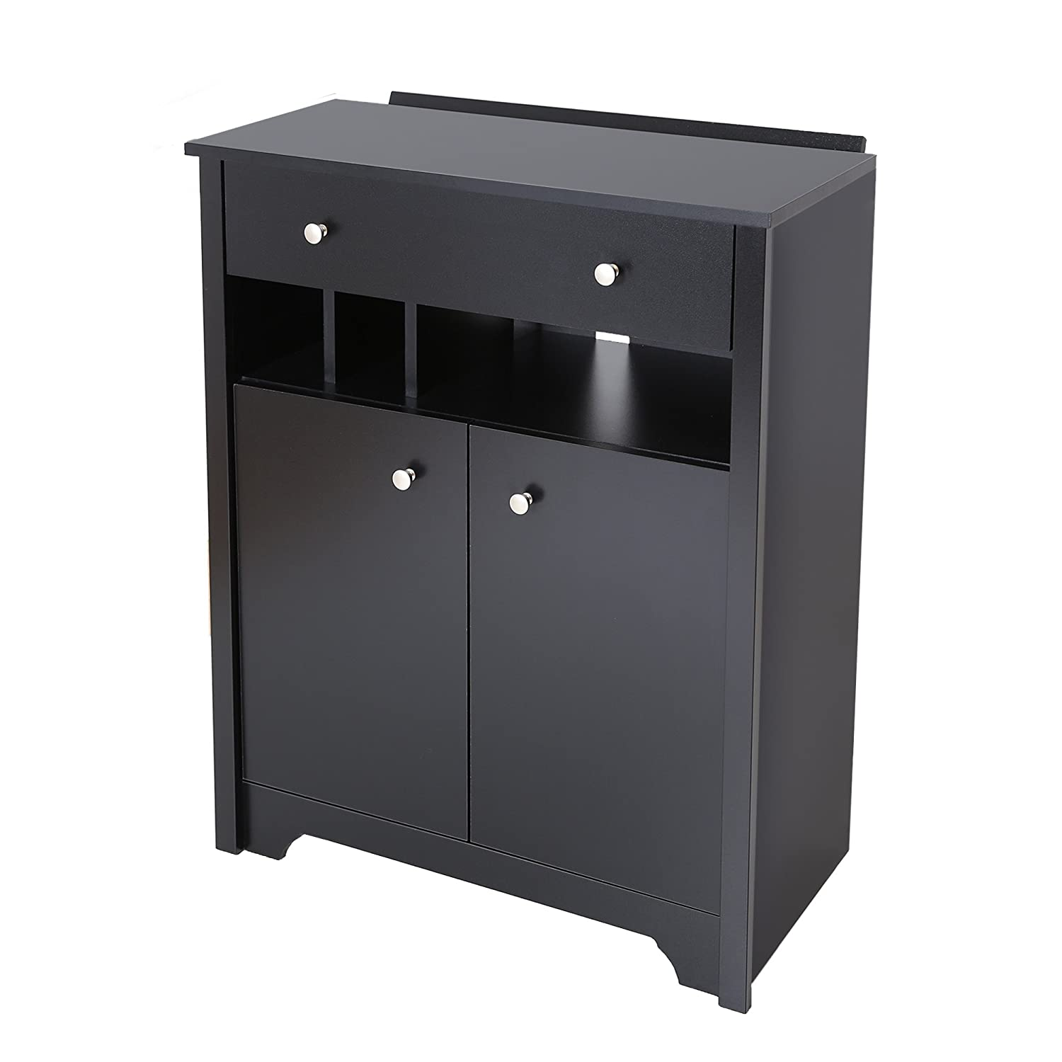 Amazon.com: South Shore Vito Charging Station Cabinet   Pure Black With  Metal Knobs: Home U0026 Kitchen