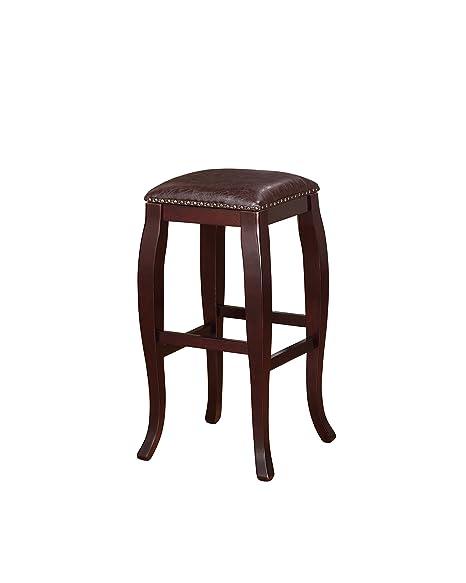 Strange Linon San Francisco Square Top Bar Stool Brown Andrewgaddart Wooden Chair Designs For Living Room Andrewgaddartcom