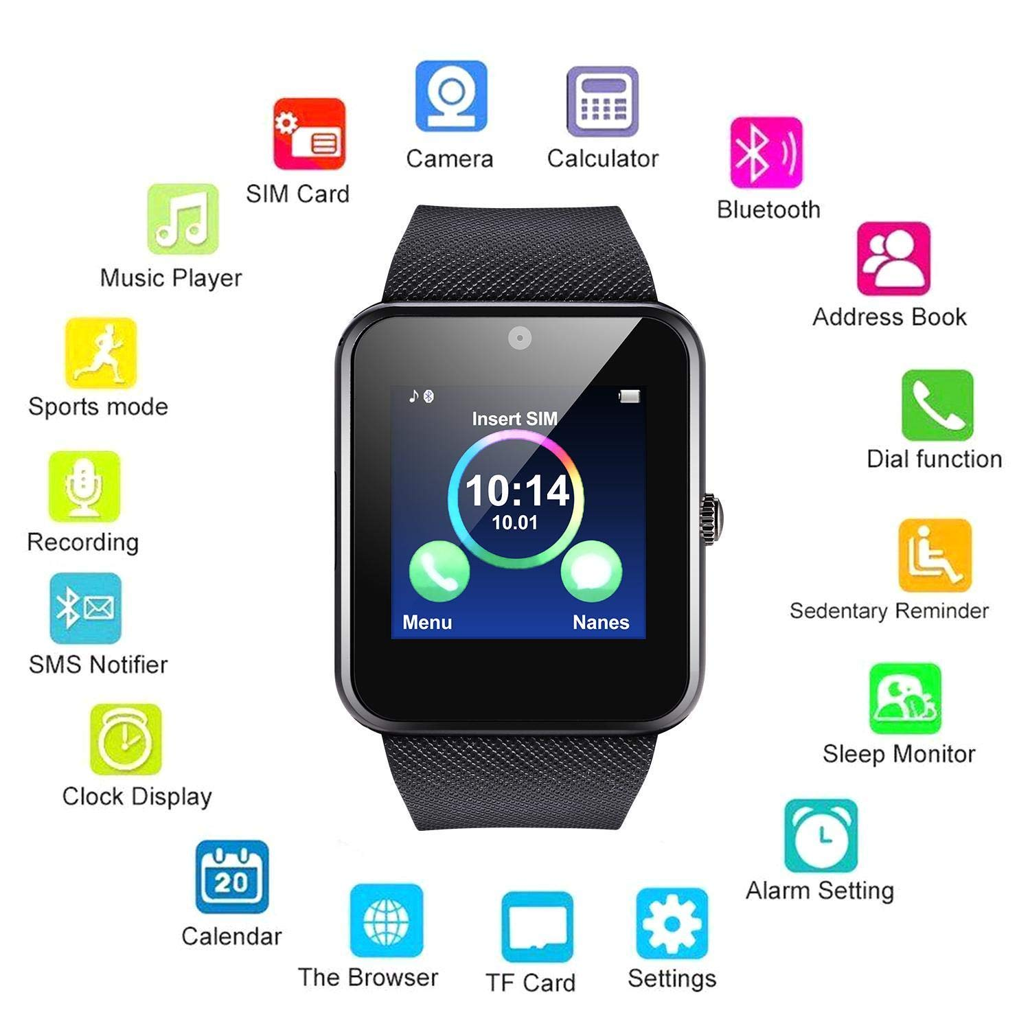 Yealsha Men Women Unisex Bluetooth Smart Watch Monitor Fitness Waterproof Wri Smart Watches