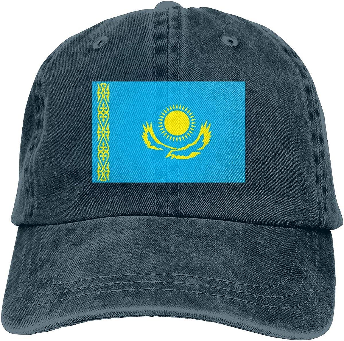 Amayc Adjustable Mens Denim Baseball Caps Kazakhstan Flag Funny Cotton Hats