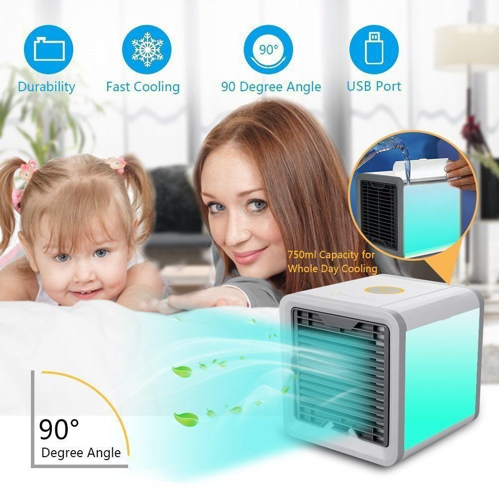 Desk Table Fan Cooler Humidifier for Office Room Air Conditioner Fan Personal Space Cooler 3 In 1 USB Mini Air Purifier Humidifier with LED Lights Outdoor Dorm
