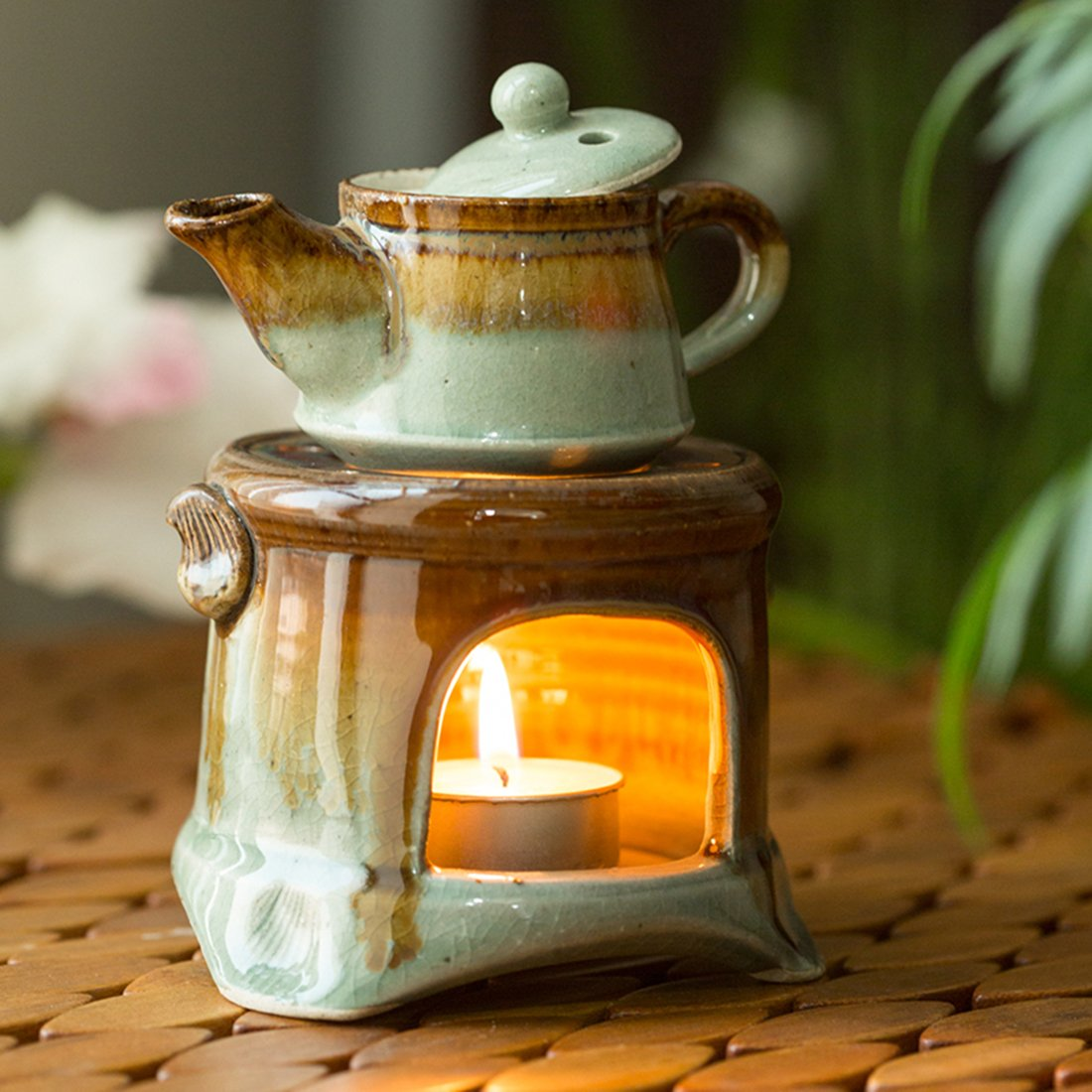 ExclusiveLane Ceramic Gas Stove Brewing Aroma Diffuser (Studio Pottery) -Candle Holders Votive Candle Holder Tealight Candles Tea Light Home Décor Candle Fragrance Oil by ExclusiveLane