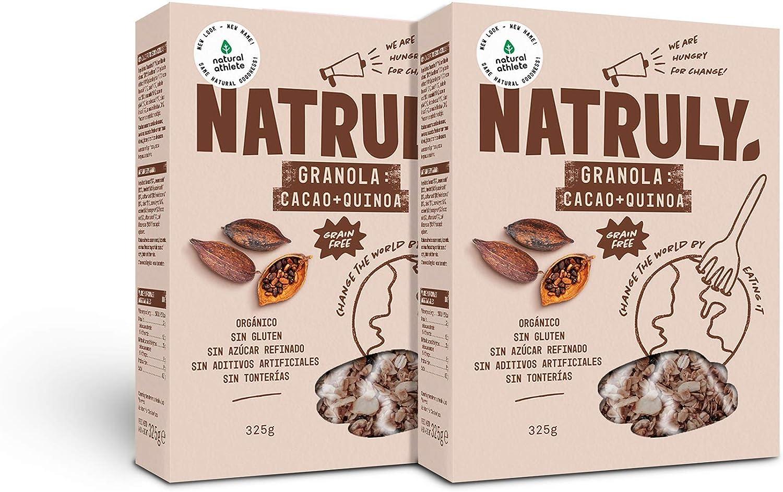 NATRULY Granola BIO de Frutos Secos y Semillas Sin Cereales, Sin Gluten y Sin Azúcar Refinado, Vegana, Sabor Cacao, Coco y Quinoa